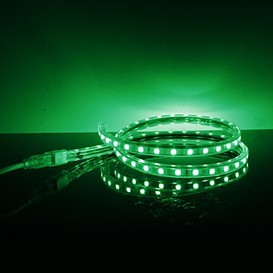 Impermeable 10W / M 5050 SMD LED Strip Green Light Lamp (220V, seleccionable longitud)