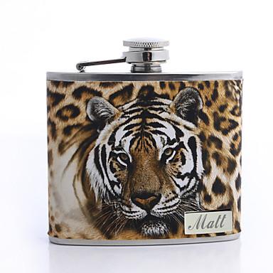 подарок на день печати леопарда Персонализированные отца 5oz искусственная кожа колбу