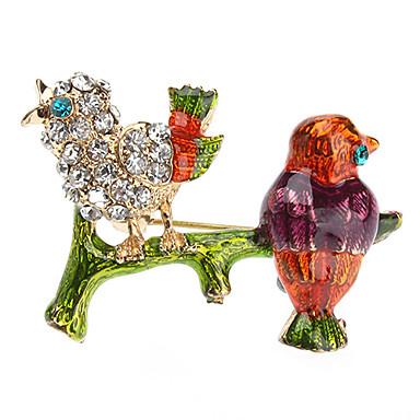 Z&X®  Lovely Full Colored Glaze Bird Brooch