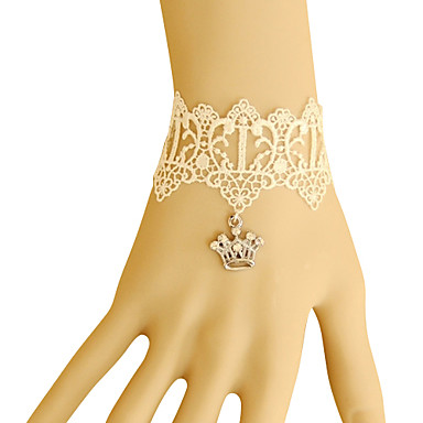 Imperial Crown Pattern Hollow-out White Lace Bracelet
