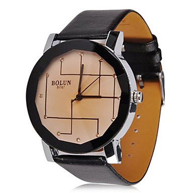 Women's Abstract Line Leather Band Quartz Wrist Watch