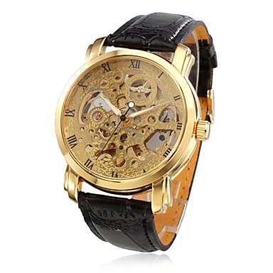 3054ca58b4a WINNER Homens Relógio Esqueleto relógio mecânico Automático - da corda  automáticamente Couro PU Acolchoado Preta Impermeável