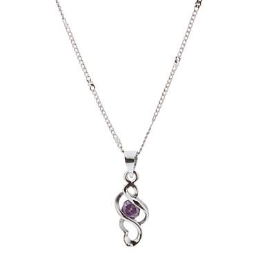 S 모양 자주색 모조 다이아몬드 합금 목걸이를 장식용 목을 박다