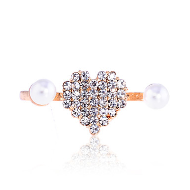 Lureme®Diamond-Studded Heart-Shaped Double Finger Pearl Ring