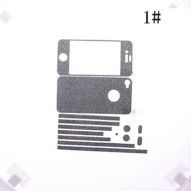Fargerike Flash Powder Front og Back Screen Protector for iPhone 4/4S (assorterte farger)