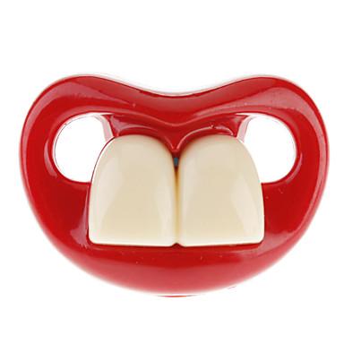 Joyful bambino due denti anteriori tettarella del bambino con le labbra rosse