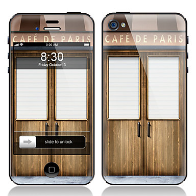 Wood Door Pattern Front and Back Screen Protector Film for iPhone 4/4S