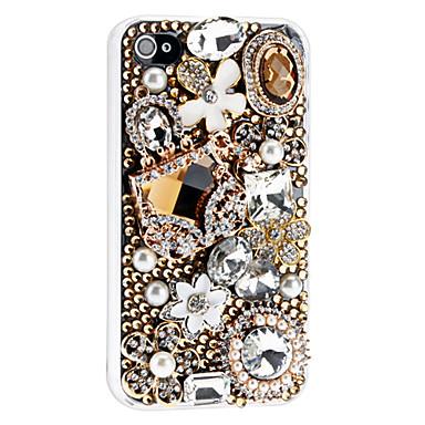 Diamond-Studded Irregular Patchwork Floral Transparent Case for iPhone 4/4S