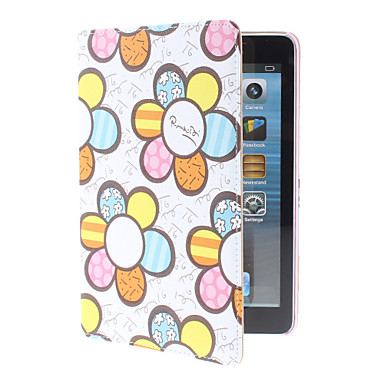 Colorful Flowers Pattern PU Leather Case with Stand for iPad mini