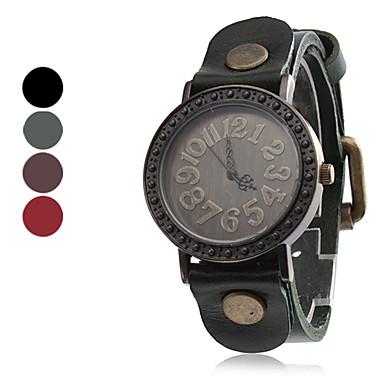 quartzo do vintage estojo de couro banda relógio de pulso analógico feminino (cores sortidas)