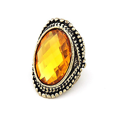 Vintage Alloy Yellow Gem Pattern Ring
