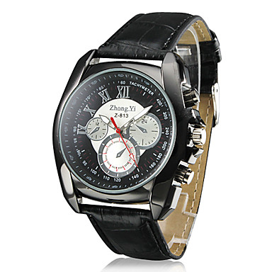 Men's Racing Design Black Case PU Leather Band Quartz Wrist Watch