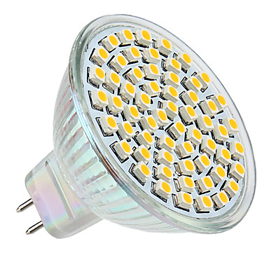 3W GU5.3(MR16) LED-spotpærer MR16 60 LED SMD 3528 Varm hvit 2800lm 2800KK DC 12V