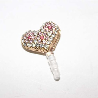 Zircon Hollow Out Gradient Pink Small Heart Pattern Anti-Støv Plug