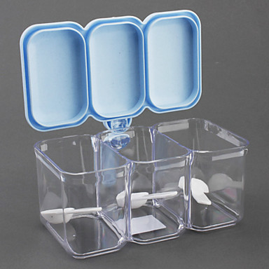 3x350ml Bottle Condiment Containers with Spoons Set (Assorted Colors)