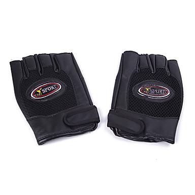 Sport Cykling PU læder Half-finger handsker (Sort) MN119758