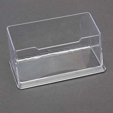 Transparent Plastic Business Card Holder (Random Color)