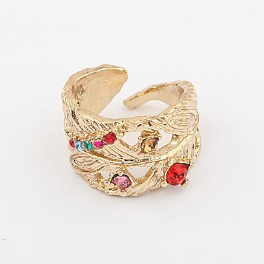 Aleación de circón anillo de la hoja de apertura patrón plateado oro (colores surtidos)