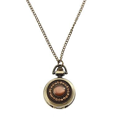 Retro-Kristallabdeckung Bronze-Legierung Quarz Halskette Uhr Frauen