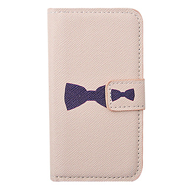 Cartoon Bowknot Pattern Leather Hard Case for iPhone 4/4S