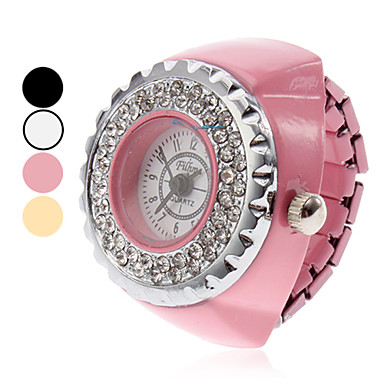 Unisex Alloy Analog Quartz ring klocka (blandade färger)