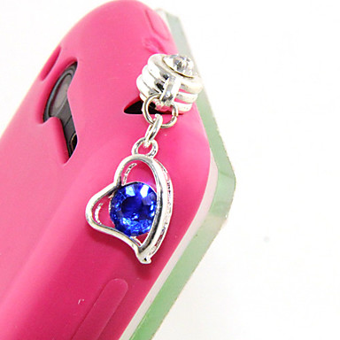 Alloy Zircon Heart Pattern Anti-dust Plug(Random Colors)