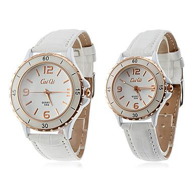 Par i PU Analog Quartz Parets armbandsur (vit)