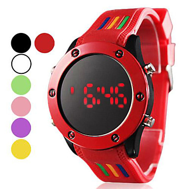 Men's Digital Sport Watch LED Silicone Band Charm Black White Red Green Pink Purple Yellow