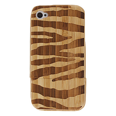 Natural Bamboo Material Zebra-stripe Pattern Detachable Hard Case for iPhone 4/4S