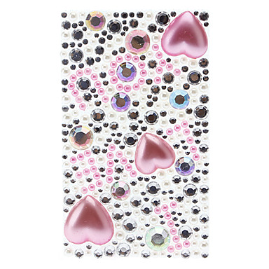 Adorable I Love You Pattern with Pink Heart Shape Pearl Jewelry Protective Body Sticker for Cellphone