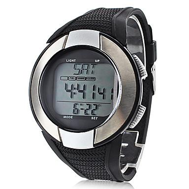 Erkek Spor Saat Dijital LCD Nabız Metre Takvim Kronograf Su Resisdansı alarm Silikon Bant Siyah