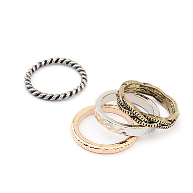المرأة فاسق نمط خمر خاتم من البرونز مجموعة (4PCS)