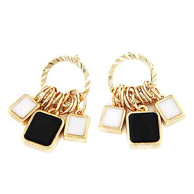 White And Black Multi-Circle Simple Earrings