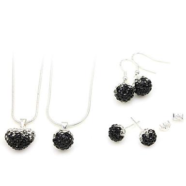 smycken set (svart 2 halsband och 2 par örhängen)