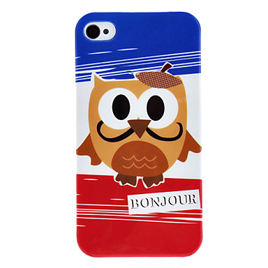 Owl with Moustache Pattern IMD Technology Hard Case for iPhone 4/4S