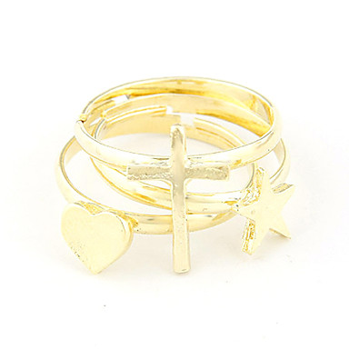 Kullattu Alloy Ring Set (Star Pattern + ristiin + Heart Pattern)