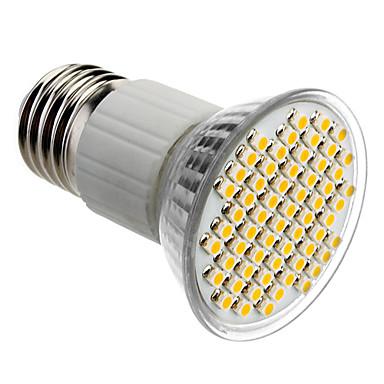 E27 4W 60x3528SMD 180-240LM 3000-3500K luz branca quente Lâmpada LED Pontual (85-265V)