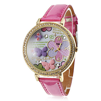 Women's and Girl's Butterfly Pattern PU Analog Quartz Wrist Watch (Rose)