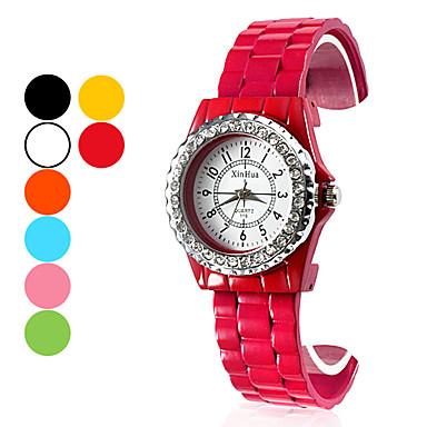 Kadın's Moda Saat Bilek Saati Bilezik Saat Quartz Bant Siyah Beyaz Mavi Turuncu Yeşil Pembe Sarı Gül