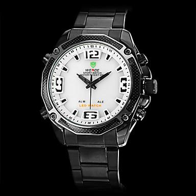 Men's Dress Watch LED Calendar Chronograph Water Resistant / Water Proof Dual Time Zones Alarm Quartz Japanese Quartz Stainless Steel Band