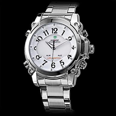 Acciaio digitale-analogico a LED orologio del quarzo degli uomini con multi-funzionali (2 fuso orario, colori assortiti)