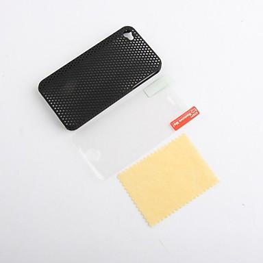 ultra sottile opaca caso di copertura in gomma maglia difficile per iphone 4 e 4s con schermo protezione (nero)