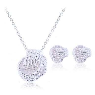 Kadın's kıvrımlı Takı Seti - Som Gümüş, Gümüş Zarif, Gelin Dahil etmek Vidali Küpeler Uçlu Kolyeler Gümüş Uyumluluk Parti Doğumgünü Nişan / Kolczyki