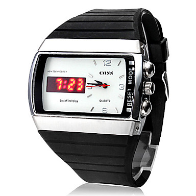 Men's LED-Quartz Digital-Analog White Dial Black Rubber Wrist Watch Cool Watch Unique Watch