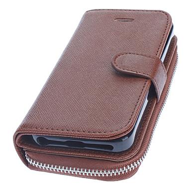 luxo carteira de couro marrom projeto caso de corpo inteiro com alça para o iphone 5/5s