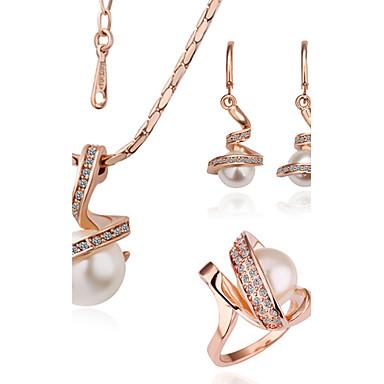 Pentru femei Cristal Set bijuterii 18K Placat cu Aur femei, Modă Include Pentru Petrecere Zilnic / Inele / Σκουλαρίκια / Coliere