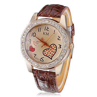 לב בצורת שעונים לנשים גל פוינט דיאמנט תבנית חיוג PU בנד קוורץ שורש כף יד אנלוגי (צבעים שונים)