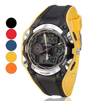 Multi-Function analogique-numérique Metal Frame ronde Dial Rubber Band Wrist Watch pour hommes (couleurs assorties)