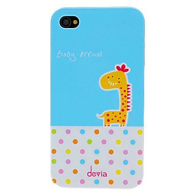 Sapma Sevimli Karikatür Zürafa ve iPhone 4/4S için Yuvarlak Nokta Desen PC Hard Case