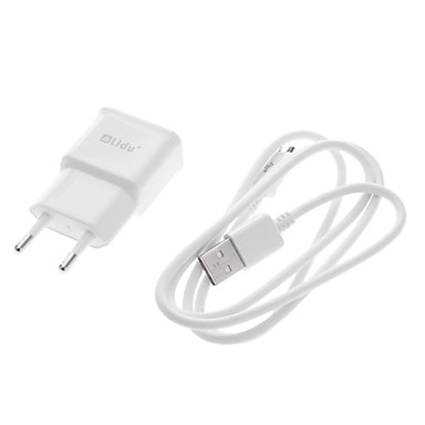 1 Set White EU USB Wall Charger Power Plug + Micro USB Date Cable Sync for Samsung Galaxy Note2 N7100/S3/S4